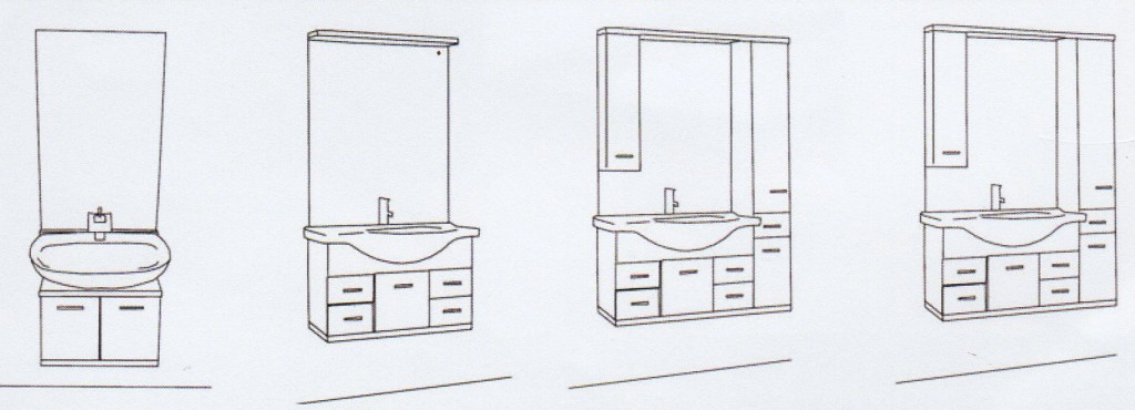 Lift Washbasin flush-mounted - composition alternatives