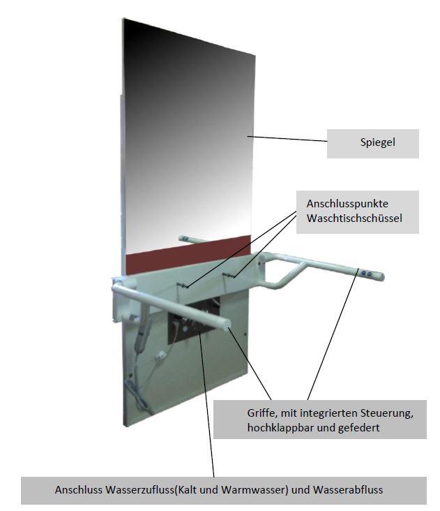 Lift Waschtisch Unterputz - verschiedene Bestandteile