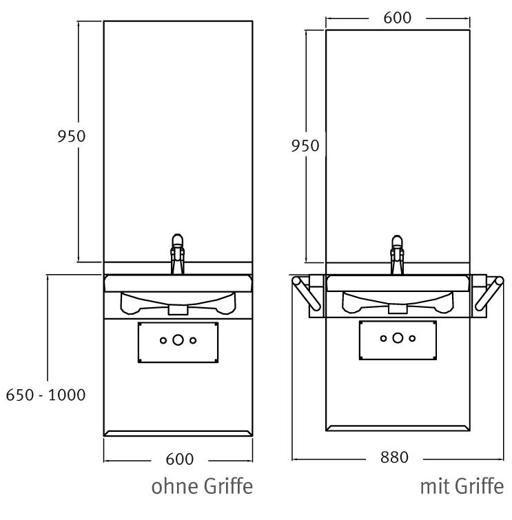 Lift Waschtisch Unterputz - Maßangaben