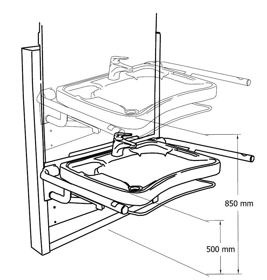 Lift Waschtisch Aufputz - elektrische Höhenverstellung